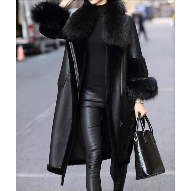 Rose - Genuine Leather and Raccoon Fur Coat Black - WOMEN'S