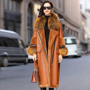 Rose - Genuine Leather and Raccoon Fur Coat - Burnt Orange /