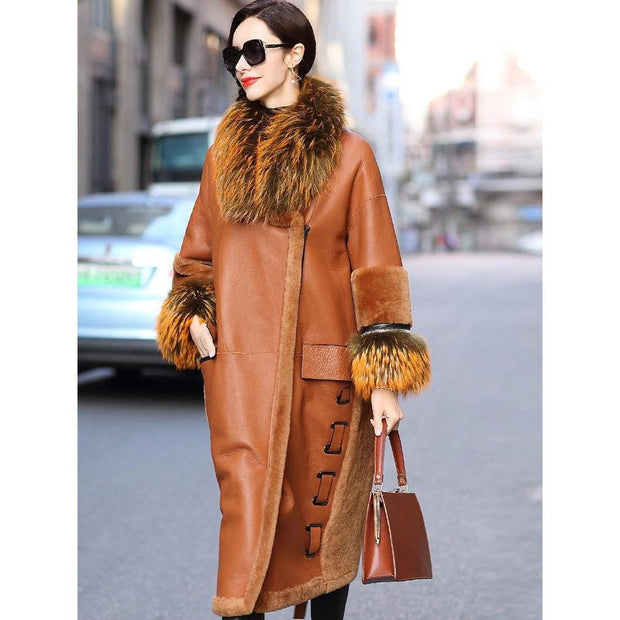 Rose - Genuine Leather and Raccoon Fur Coat - WOMEN'S COATS