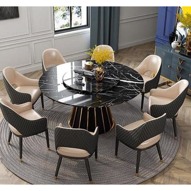 Round High-End Marble Italian Dining Table - 2M full set -