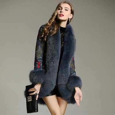 SAMKO - Embroidered Jacket with Fox Fur Trim Blue - blue / M