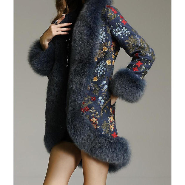 SAMKO - Embroidered Jacket with Fox Fur Trim Blue - WOMEN'S