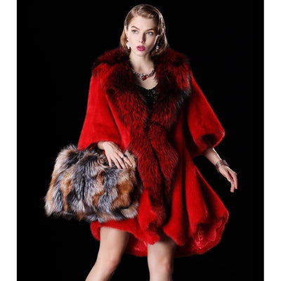 SANDRO - Mink Fur Coat with Fox Fur Tuxedo Collar - Burgundy