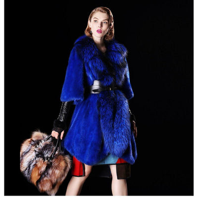 SANDRO - Mink Fur Coat with Fox Fur Tuxedo Collar - Navy