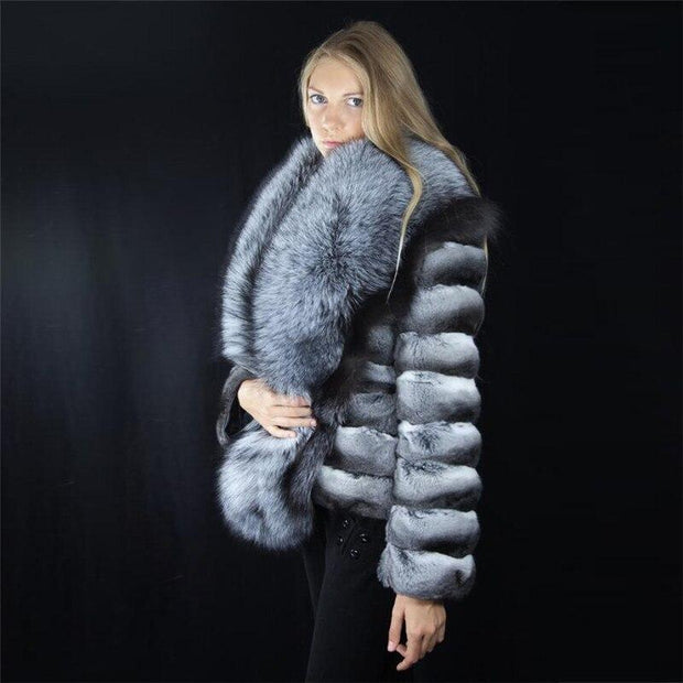 SAVANNAH-Chinchilla Fur Coat with Silver Fox Fur Collar -