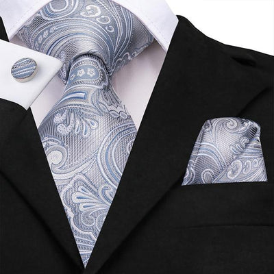 Silver and Light Blue Paisley Tie - Men's Ties