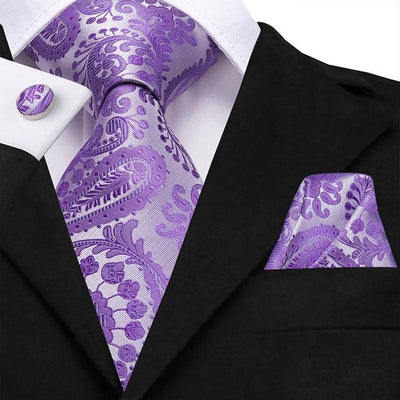 Silver and Purple Paisley Tie - Men's Ties