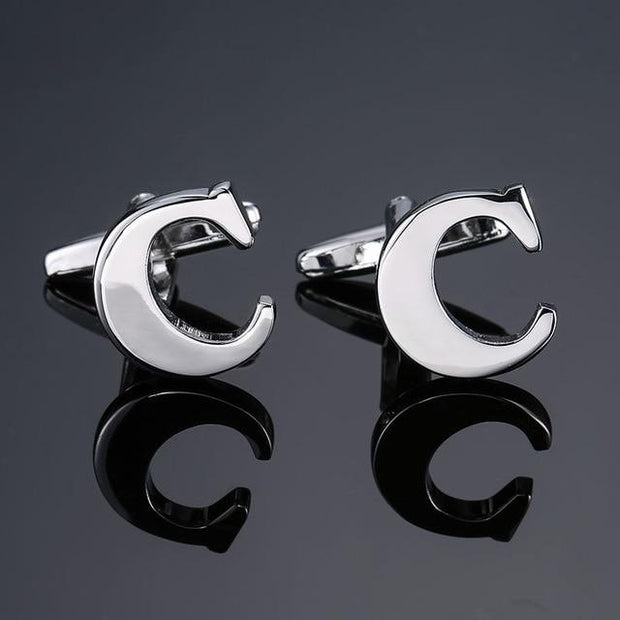 SILVER PERSONALISED CUFFLINKS - C - Cuff Links