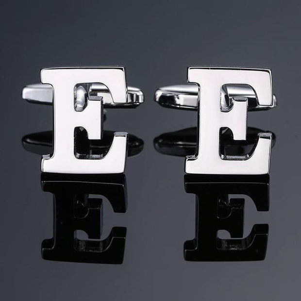 SILVER PERSONALISED CUFFLINKS - E - Cuff Links