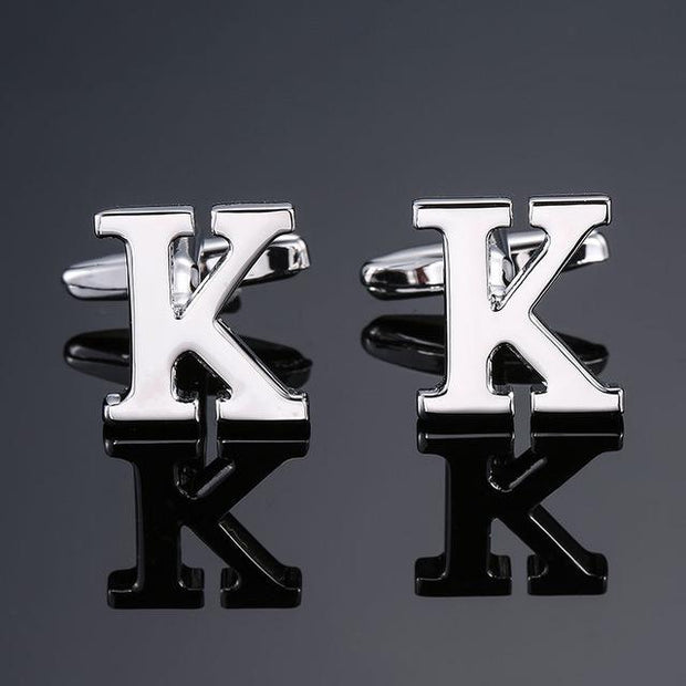 SILVER PERSONALISED CUFFLINKS - K - Cuff Links