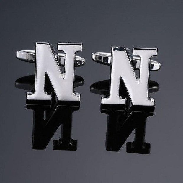 SILVER PERSONALISED CUFFLINKS - N - Cuff Links
