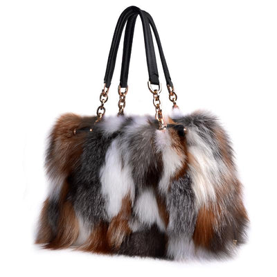 Simona Fox Fur Bag-Multi - Shoulder bags