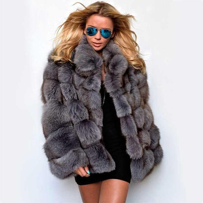 SMOKIE - Genuine Fox Fur Coat - dark grey / 3XL Bust 108cm -