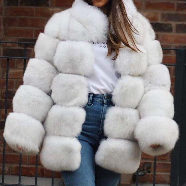 SMOKIE - Genuine Fox Fur Coat - nature white / S Bust 88cm -