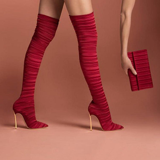 Sonic - Pleated Velvet Thigh High Boots - women's boots