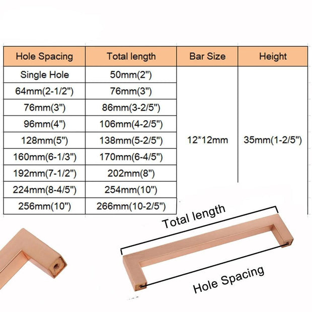 Steinway Square Drawer Pull - Rose Gold - door pulls