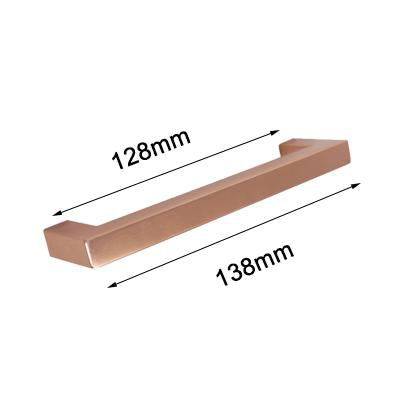 Steinway Square Drawer Pull - Rose Gold - Hole space 128mm -