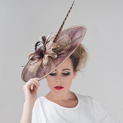STRASBOURG - Sinamay Feather and Veil Hat - Millinery