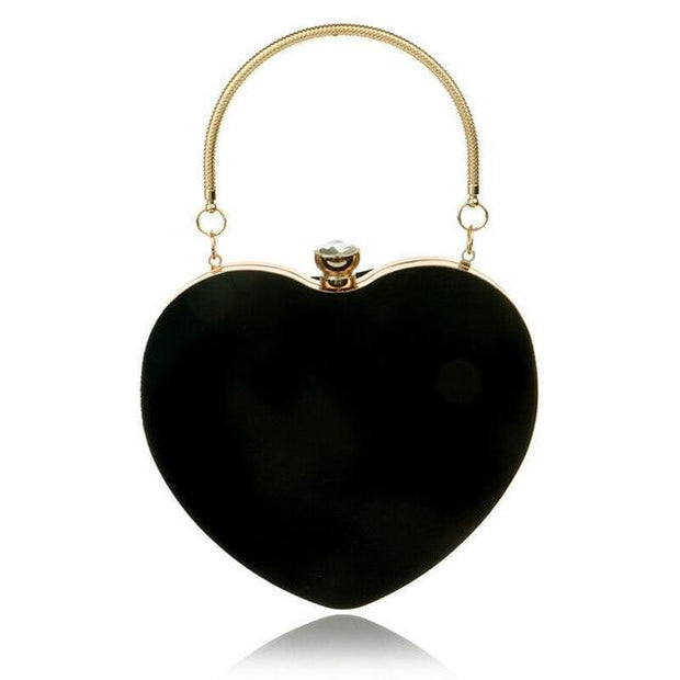 Suede Heart Tote - Black - Women's Clutches