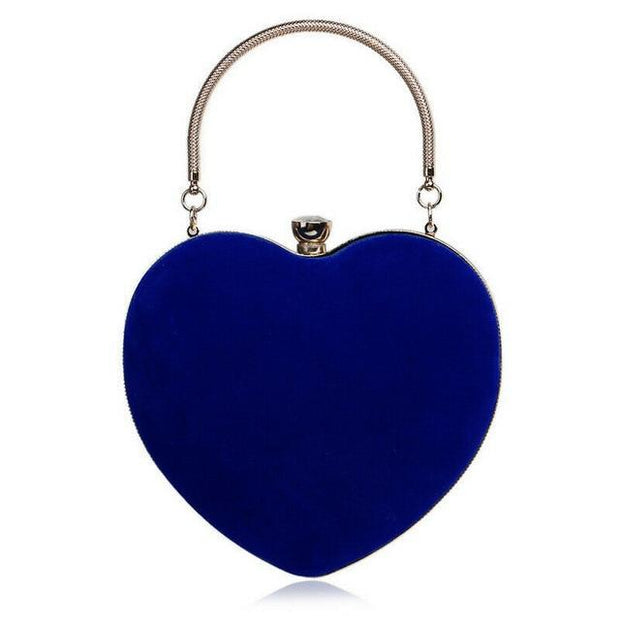 Suede Heart Tote - Blue - Women's Clutches