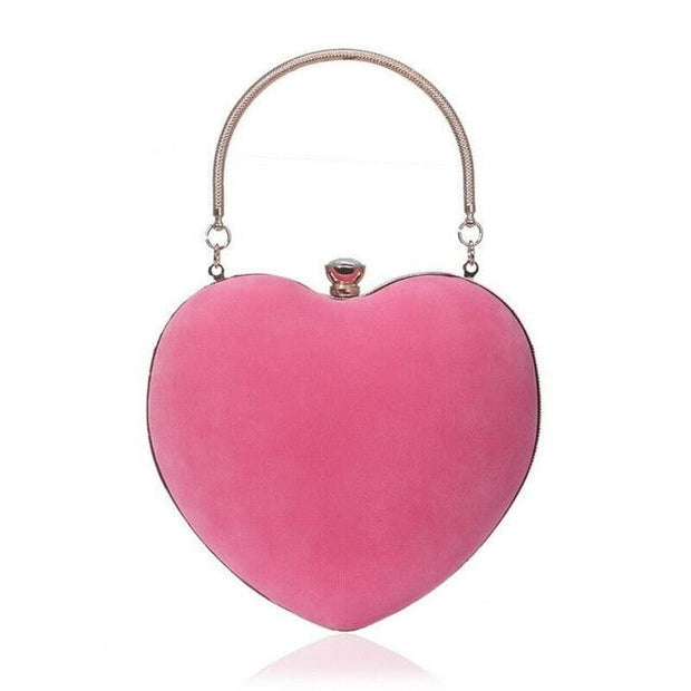 Suede Heart Tote - Pink - Women's Clutches