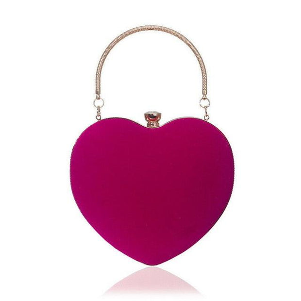 Suede Heart Tote - Rose Red - Women's Clutches