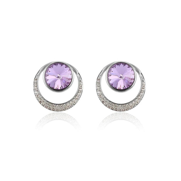Swarovski Stud Earrings - Platinum Plated / Purple - Women's
