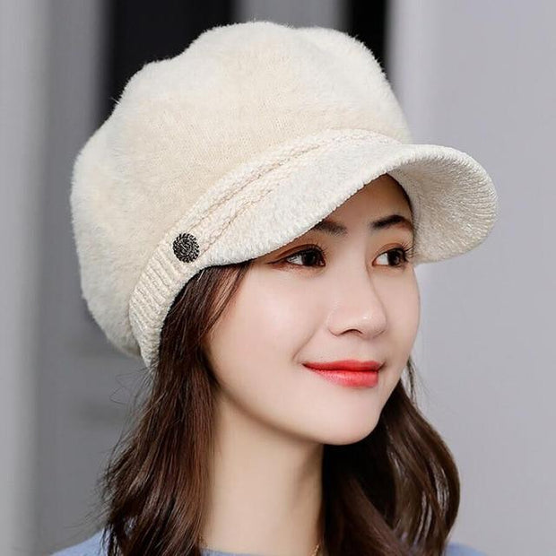 Tara Faux Fur Newsboy Cap - Beige - Winter Hats