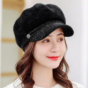 Tara Faux Fur Newsboy Cap - Black - Winter Hats