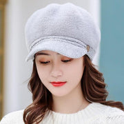Tara Faux Fur Newsboy Cap - Gray - Winter Hats