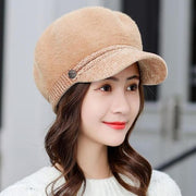 Tara Faux Fur Newsboy Cap - Khaki - Winter Hats