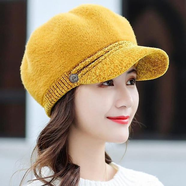 Tara Faux Fur Newsboy Cap - Mustard - Winter Hats