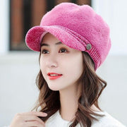 Tara Faux Fur Newsboy Cap - Pink - Winter Hats