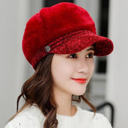Tara Faux Fur Newsboy Cap - Red Wine - Winter Hats