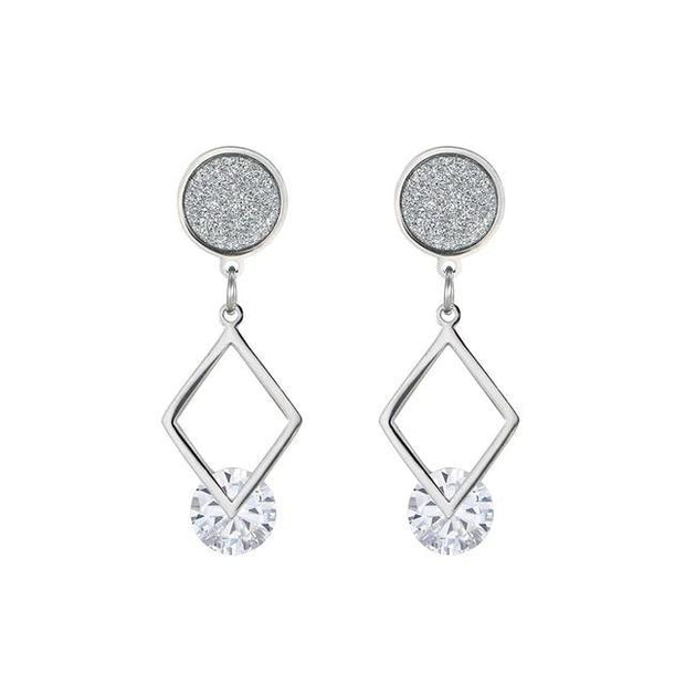 Tatyana Crystal Drop Earrings - Rhodium Plated / White -