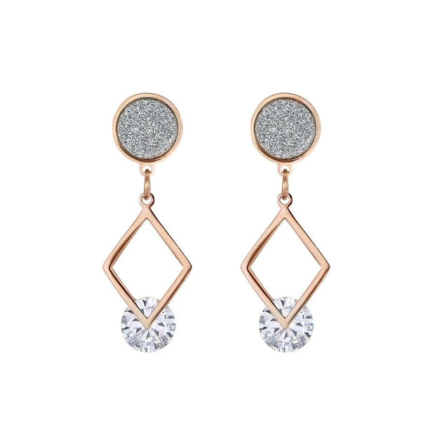 Tatyana Crystal Drop Earrings - Rose Gold Color / White -