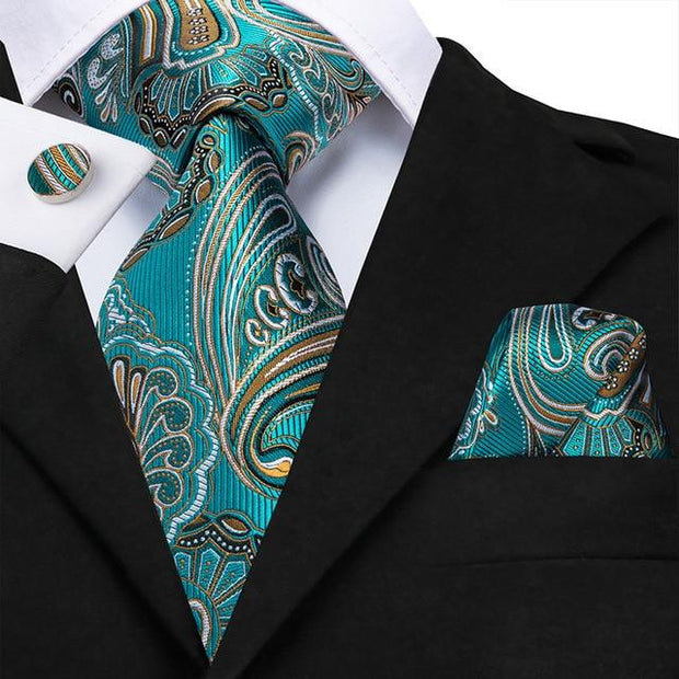 Teal and Gold Paisley Tie - Men's Ties