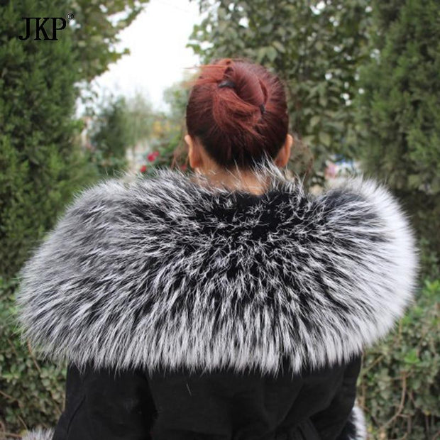 The Maya Natural Raccoon Frosted Black Fur Oversized Collar