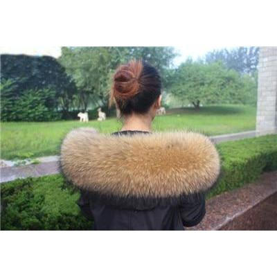 The Maya Natural Raccoon Fur Oversized Collar - Fur Collars