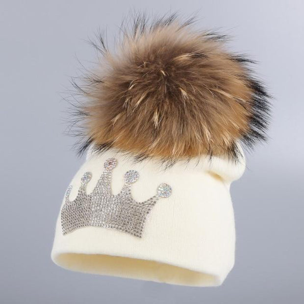 Toddler's Knitted Beanie with Mink Fur Pom-Pom - beige hat