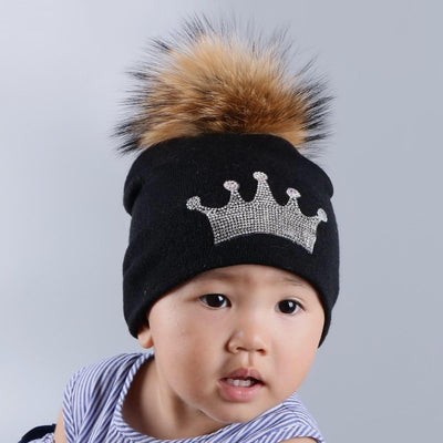 Toddler's Knitted Beanie with Mink Fur Pom-Pom - black hat
