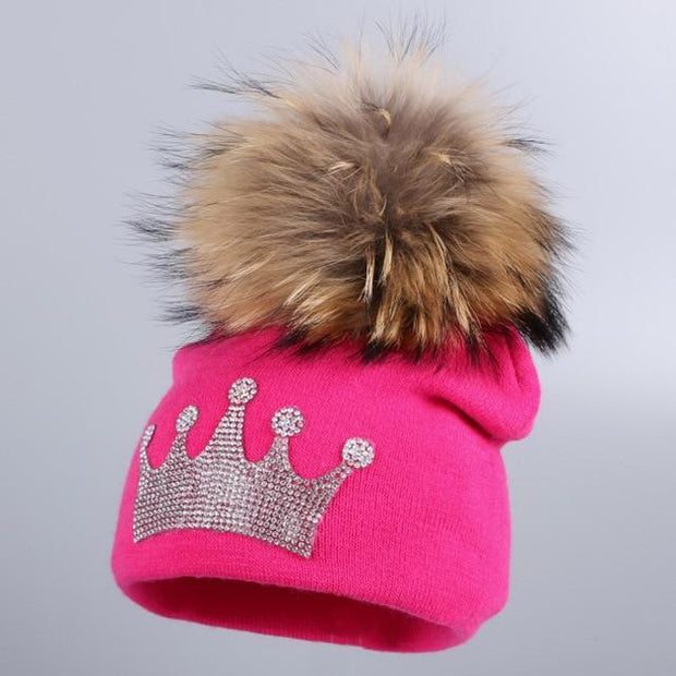 Toddler's Knitted Beanie with Mink Fur Pom-Pom - fuchsia hat