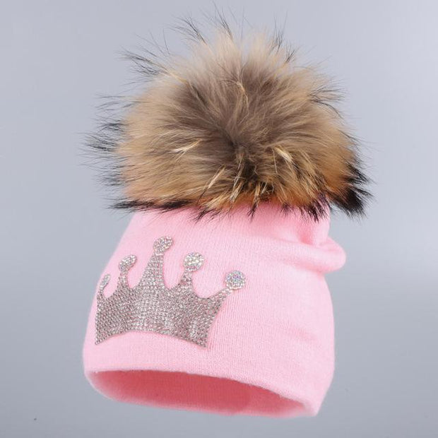 Toddler's Knitted Beanie with Mink Fur Pom-Pom - pink hat