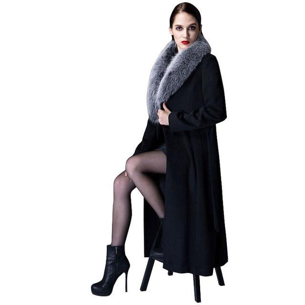 Toni - Cashmere Coat with Fox Fur Collar - picture fur