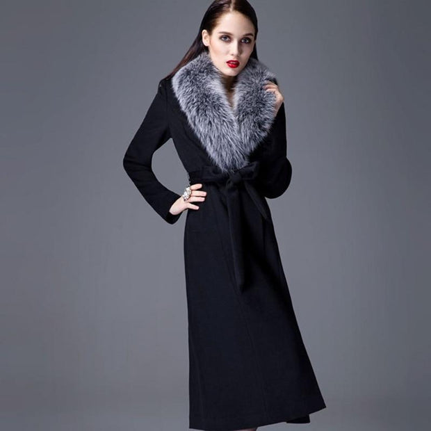 Toni - Cashmere Coat with Fox Fur Collar - WOMEN'S COATS