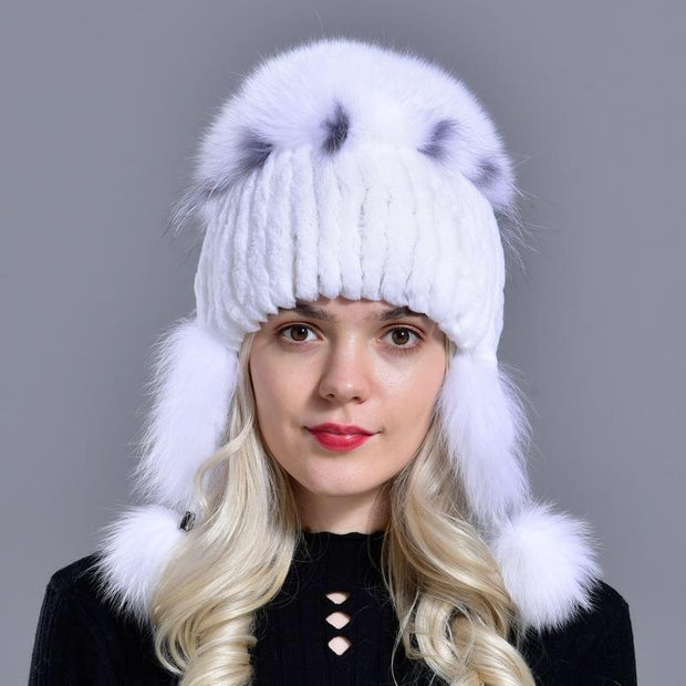 UDANI - Rex Rabbit Knitted Bomber Hat - Women's Hats