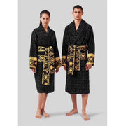 Unisex Black Logo Barocco Robe - Women's clothing