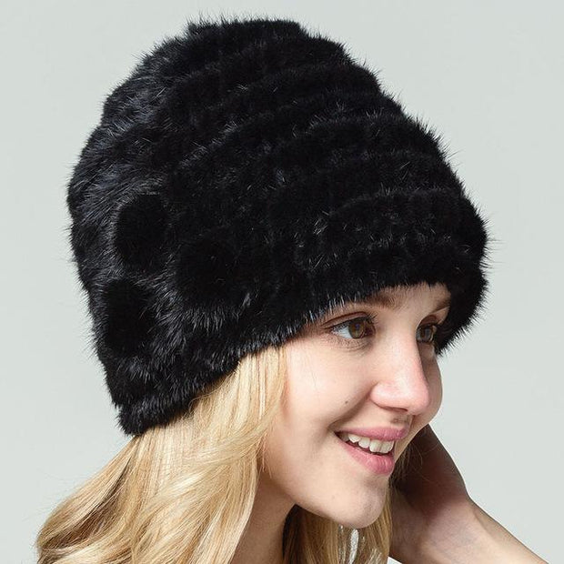 Vannie - Genuine Mink Fur Hand Knitted Hat Black - Women's