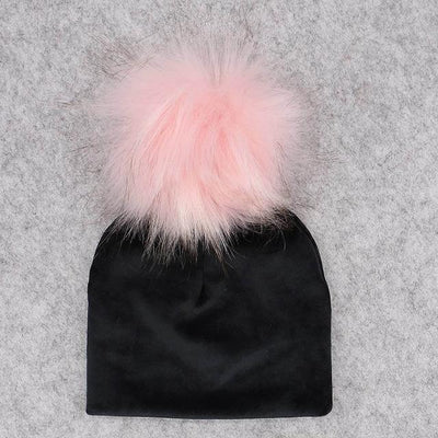 Velvet Beanie with Faux Fur Pom Pom - black 2 / 0-6month -