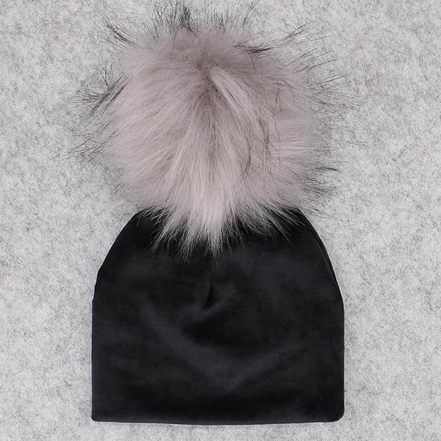 Velvet Beanie with Faux Fur Pom Pom - black 3 / 0-6month -